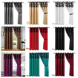 Luxury Damask Flock Faux Silk Ring Top Curtain Pair Fully Lined Windows Curtains