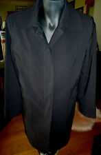"""""""Cue"""" Black Fully Lined Trench Coat, Size 10"""