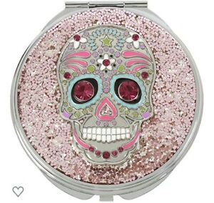 $38 Betsey Johnson Sugar Skull Silver/Pink Compact Mirror With Pave Crystals S1