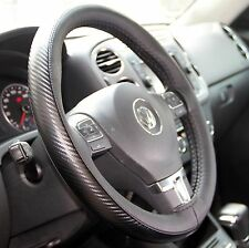 Black Carbon Style PVC Leather Steering Wheel Stitch Wrap Good Fit 47026b Size M