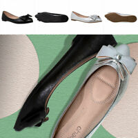 Pointed Toe Ballet Flats Women Slip On Cushioned Closed Toe Faux Leather Shoes