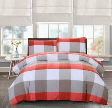 Gingham Plaid Duvet Bedding Queen Bed Set Cover W Zipper 100% Natural Cotton Red