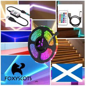 LED Strip Lights 5050 RGB TV Backlight Cabinet Lighting Bluetooth Control USB⚡UK