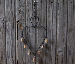 Wrought Iron Heart with Bells Wind Chime