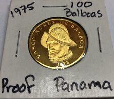 1975 Panama 100 Balboa Proof 900/22K Gold Coin Vasco Nunez de Balboa Gem MS BU