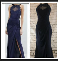 Lipsy Navy High Neck Maxi Dress With Metallic Lace Trim - BNWT - Size 12 RRP £92