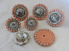 Jeremiah Watt Conchos Set of 6 Saddle Set Wood Screws Spotted Leather Rosettes