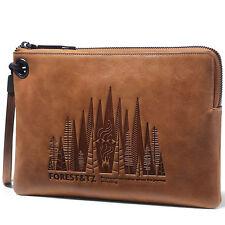 New Mens Genuine Real Leather Zipper Wallet Vintage Handbag Designer Clutch Bag