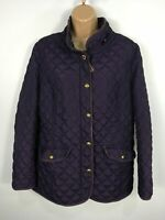 WOMENS JOULES MARCOTTE PURPLE DIAMOND QUILTED ZIP FITTED LIGHT JACKET COAT UK 14