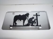 Horse, Cowboy Mirror Laser License Plate Blessed, Religious, Pray