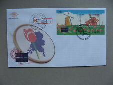 INDONESIA, R-cover FDC 2002, S/S AMPHILEX 2002 windmill, flower