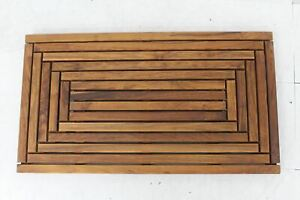 BARE DECOR WF2999 Solid Teak Wood Oiled Finish Giza Shower Spa Door Mat NEW