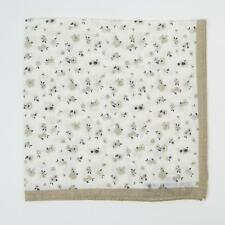Aquascutum London $105 Beige White Navy Blue Small Floral Linen Pocket Square