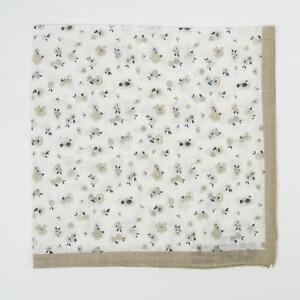 Aquascutum London Beige White Navy Blue Small Floral Linen Pocket Square