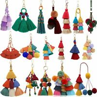Colorful Tassel Keychain Boho Charms Key chains Ring Handbag Pendant Accessories