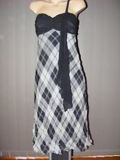 DUSK Summer Party DRESS SIZE 10 NEW One Shoulder Design. Black & cream Check