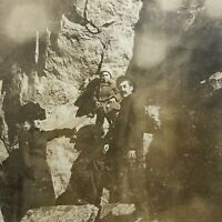 VTG RPPC Postcard Family Holiday Wilderness Cliff Side Mountain Post Card Child