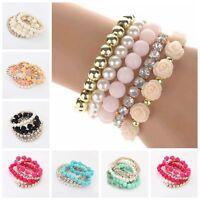 Fashion Women Multilayer Bead Bracelet Rose Rhinestone Bangle Charm Cuff Jewelry