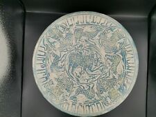 Very old Islamic central asia stunning black painted gold inlay pottery dish