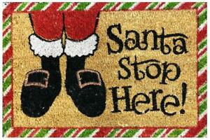 "CHRISTMAS DECORATION ""SANTA STOP HERE"" MAT COIR GREETING NON-SLIP 60 x 40CM"