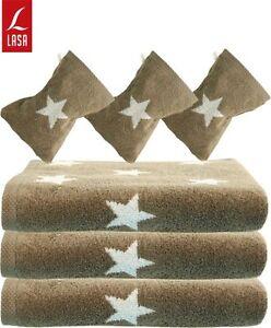 Lasa Handtuch Duschtuch Strandtuch Saunatuch Waschhandschuh Sterne braun weiß