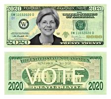 Elizabeth Warren for President 2020 Dollar bill 20 Pack Play Funny Money Note