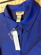 Bridgewater Studio 100% Linen Extra Large Blue Button Front Long Sleeve Shirt