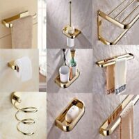 Gold Brass Wall Mounted Bathroom Accessories Towel Bar Toilet Holder eset001
