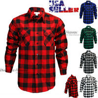 Mens Brawny Buffalo Plaid Flannel Casual Shirt Button Front Long Sleeves Shirts
