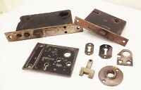 Vtg antique cast iron mortise rim door lock key latch lot cast iron victorian