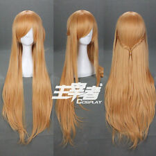 Sword Art Online Asuna Brownish Long Straight Brown Anime Cosplay Wig +Free CAP