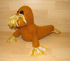 "11"" Plush Walrus Brown Yellow White Yarn Flippers Tail Head Seal Sea Lion"