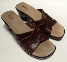 Women's Bass Italy Acacia Sandals Brown Leather Size 8 M Slip-On Shoes Heels