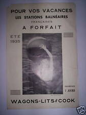 ANCIEN DEPLIANT STATIONS THERMALES ETE 1935 WAGONS COOK