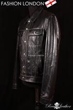 Men's Western Trucker Leather Jacket Classic Black Napa Leather Shirt Jacket