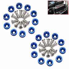 20PCS BLUE JDM BILLET ALUMINUM FENDER BUMPER WASHER/BOLT ENGINE BAY DRESS UP KIT