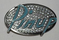 Pinup, Belt Buckle, Rhinestones, Silver, Mint Green