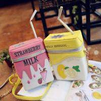 Women Funny Shoulder Bag Strawberry Lemon Milk Box Crossbody Bags Girl Bag Purse