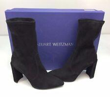 Stuart Weitzman Clinger Black Nero Suede Mid Calf Boot 8.5 Bootie Heel