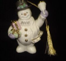 2000 Lenox Snowman With Bell & Presents 'Jingle All the Way' 24k Gold Accents