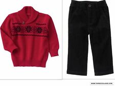 GYMBOREE VERY MERRY RED PULLOVER SWEATER AND CORDUROY PANTS OUTFIT NWT SIZE 2T