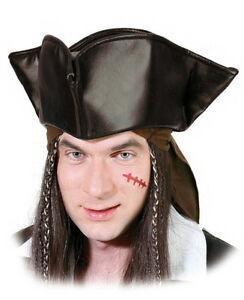 Piraten-Dreispitz Hut für Piratenkostüm Leder-Optik braun