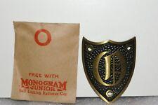NOS 1920's-1930's Monogram Junior Metal Motometer Cap Shield Letter O BRASS