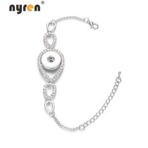 10pcs Rhinestsone Snap Bracelet 18mm Snap Jewelry Fit 18mm Snap Button 07044b