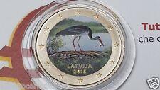 2 euro 2015 LETTONIA colorato Lettonie Lettland Latvia Латвия cicogna stork II T