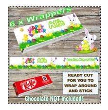 6 X BARRA DI CIOCCOLATO personalizzato Wrapper KitKat caccia all'uovo di Pasqua Regalo Bunny Chick