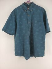 Woolrich Fishing Shirt Men's Sz Medium Dark Teal Fly Fishing Design (s)