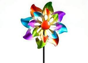 Formano Windrad Metall farbig Windspiel Gartenstecker 110 cm hoch