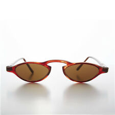 Small Slim Edgy Vintage Rare 1990s Sleek Sunglasses Tortoise/Brown Lens -  Khloe