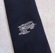 Aeroplano Crest Motivo Cravatta VINTAGE CON MARINA MILITARE AVIAZIONE PILOTA DA Alec Brook 1980s